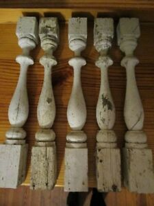 Lot Of 5 Antique Victorian Porch Turned Spindles Chippy Paint 21 3 4 C1890