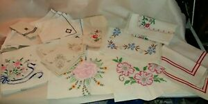 18 Assorted Vintage Embroidered Napkins Runners Clothes Covers