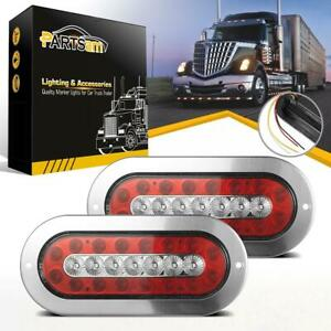 2x6 Oval Red Yellow 23 Led Brake Stop Turn Signal Tail Lights W Stainless Bezel