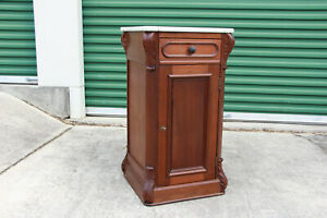 Fine Unusual Walnut Victorian Marble Top Tall Cabinet Nightstand Ca 1870