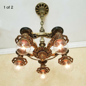 477b Vintage Ceiling Light Lamp Fixture Art Nouveau Chandelier Antique 1 Of 2