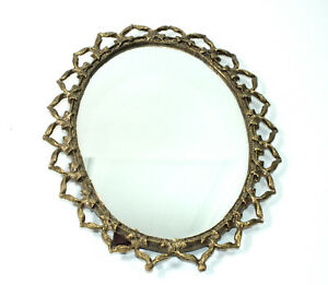 Vintage Vanity Mirror Oval Mirror With Back Stand Antique Gold Style Border