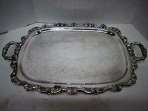 Epca Poole Old English Silverplate Rectangular Footed Serving Butler Tray 24x15