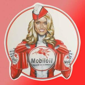 Mobile Oil Pinup Girl Vinyl Decal Sticker Car Truck Race Car Garage Tool Box