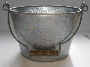 Vintage Aluminum Metal Bucket Rustic Pail With Handle And Imprint