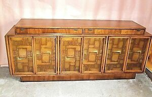 Mid Century Modern Walnut Paul Evans Brutalist Sideboard With Copper Panel Doors