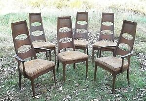Set Of 6 Adrian Pearsall Walnut Finish High Back Chairs 2 Arm 4 Side Chairs