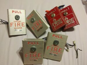 Lot Of 6 Notifier Bng 1 Fire Alarm Pull Stations no Key Included