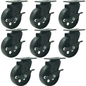 8 All Black Metal Swivel Plate Caster Wheels W Brake Heavy Duty 4 W Brake