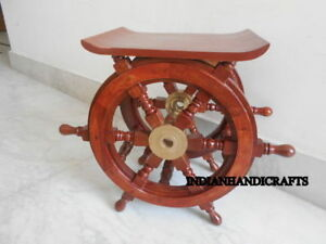 Collectors Vintage Boat Ship Wooden Steering Wheel Table Home Decor Item