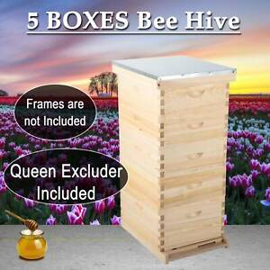 Upgraded Model 5 Layer Beehive Honey Bee Hive W Metal Roof And Queen Excluder