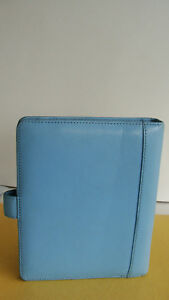 Compact 75 Rings Light blue Leather Franklin Covey Planner binder Snap Guc