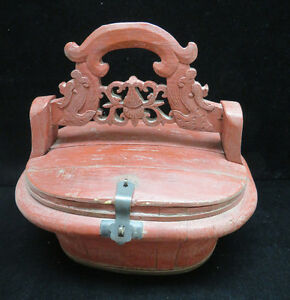 Vintage Chinese Painted Red Wood Dowry Sewing Box