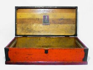Early 20th C Vint Buddy L Red Black Painted Wooden Tool Chest Box W Handles