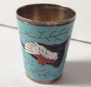 Antique Russian Enamel Sterling Silver Vodka Cup Enameled Shot Glass Must See