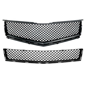 Black Bentley Style Top bumper Mesh Replacement Grille For 10 13 Cadillac Srx