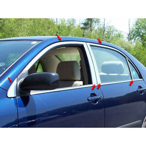 12p Luxury Fx Chrome Window Package w posts For 2003 2008 Toyota Corolla