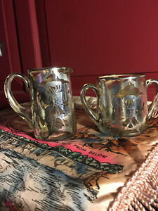 Antique Sterling Silver Overlay Sugar Bowl And Creamer