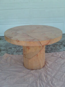 Vintage Unique Mid Century Pink Faux Goat Skin Textured Round Dining Table