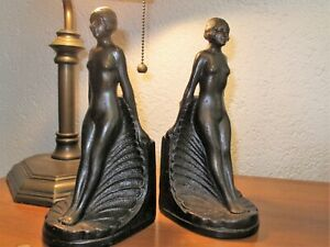 Orig 1930 S Art Deco Nude Bookends Reclining Scalloped Shell