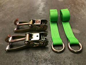 2 J hook Ratchets Lw 2 12 Lasso Straps Tow Truck Wrecker Tie Down Green