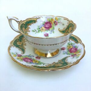 Royal Stafford Bone China Gloria Green Pink Gold And Flowers Tea Cup And Saucer