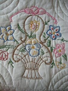 Vintage Basket Bows Quilt Elegantly Embroidered Quilted 88x72 Never Used Exc