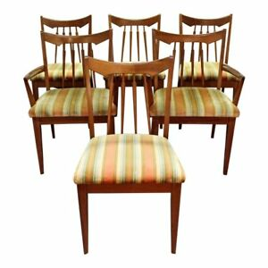 Set Of 6 Mid Century Danish Modern Spindle Back Walnut Dining Chairs