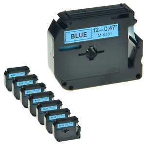 8 Pack Mk531 M k531 Black On Blue Label Tape For Brother P touch Pt 90 12mm 1 2