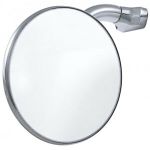 4 Inch Round Peep Mirror Curved Arm Universal Hot Street Rod Side View Sold Each
