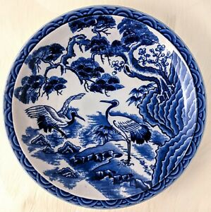 Plate Dish Shallow Bowl Porcelain Asian Japanese Chinese Blue White Cranes Pine