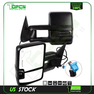 Tow Mirrors Power Heated Signal Clearance Puddle Light Side For 03 07 Chevy Gmc