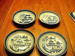 4 Antique Chinese Porcelain Blue White Canton Export Dishes