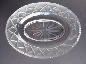 Eapg Cut Crystal Oval Bowl Stunning Old Glass R
