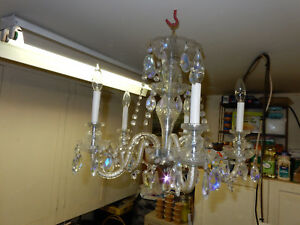 Vintage 5 Light Crystal Chandelier