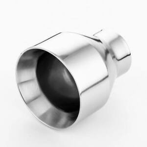 2 25 Inlet Single Exhaust Tip Straight Cut Round 4 Outlet 304 Stainless Steel