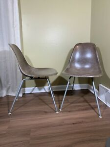 Pair Herman Miller Fiberglass Chair Side Shell Eames Mid Century Modern Brown