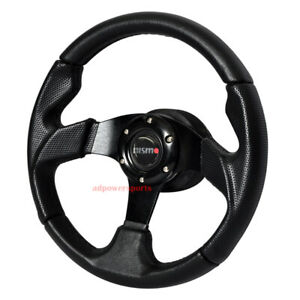 Black Pvc Leather Racing Steering Wheel 320mm 6 bolt W Horn Button