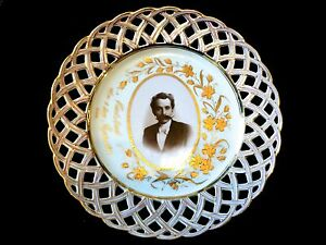 Antique Hand Painted Porcelain Plate From 1895 Germany Portrait Of Man
