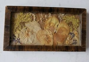Old Vintage Small Picture Of Dried Flowers