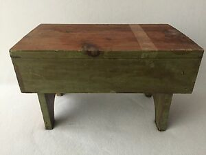 Vintage Antique Wood Foot Step Stool Milking Rustic Farmhouse Primitive Green