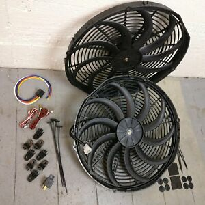 1961 1966 Ford Truck Econoline 2x 16 Inch Fan Cooling Kit Push Pull Engine Bay