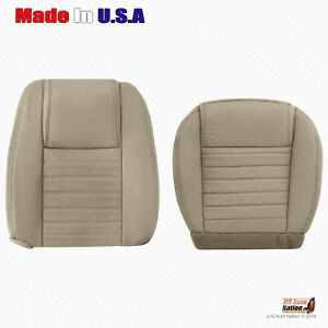 2005 2006 2007 2008 2009 Ford Mustang Driver Bottom Top Leather Seat Cover Tan