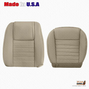 For 2005 2006 2007 Ford Mustang Driver Bottom Top Tan Perforated Leather Cover