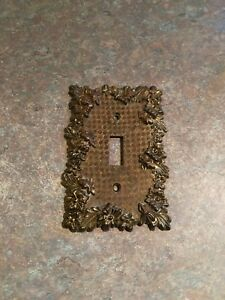 Vtg American Tack 1968 Metal Brass Single Light Switch Plt Cover Floral 2 Pcset