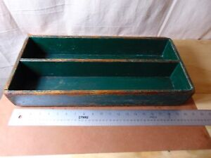 Vintage Carpenter S Painted Tray With A Divider In Old Gren Paint With Losses