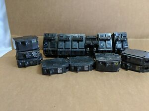 Lot Of 13 Ge Circuit Breakers Used Includes 20amp 2 Pole