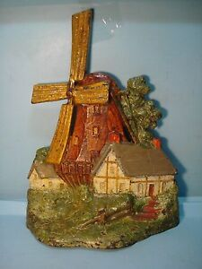 Windmill With Cottages Cast Iron Doorstop 11 3 4 A A Richardson Mass Excellent