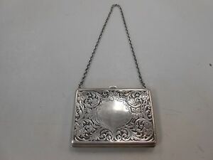 Antique Victorian Era Sterling Silver Filigree Calling Card Case 80 Grams