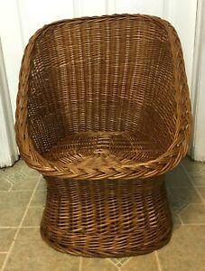 Saved For Cindy Vintage Wicker Rattan Accent Chair Pod Scoop Egg Mid Century